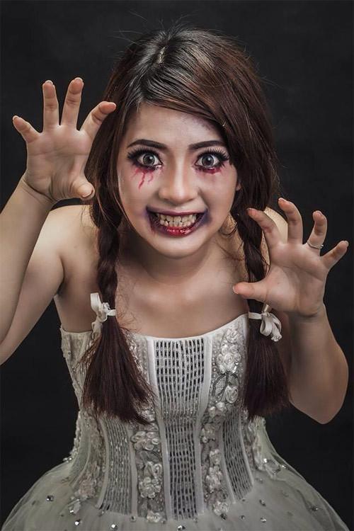 Trang diem bup be Anaabella halloween