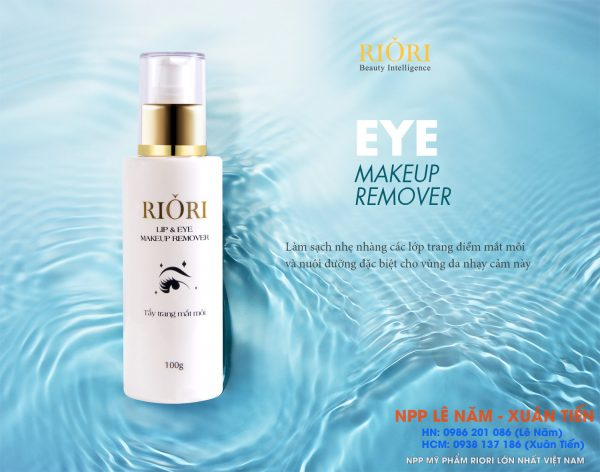 Kem tay trang mat moi riori Lip and eye Makeup remover