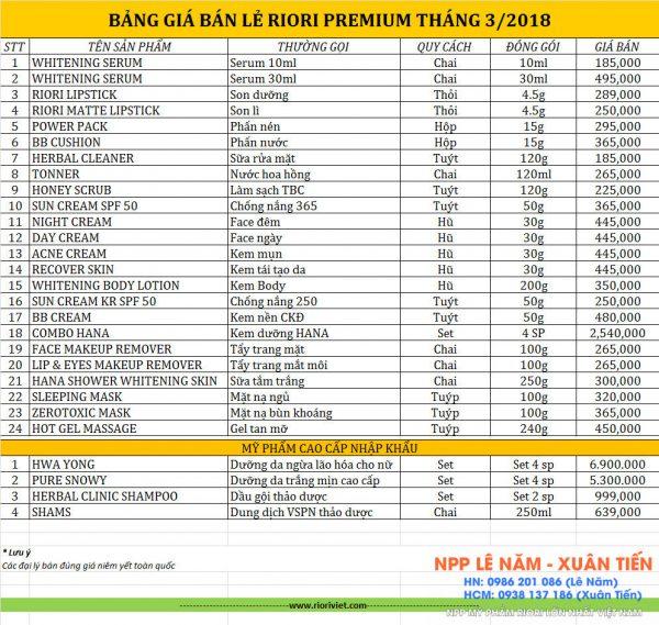 Bang gia my pham riori thang 3-2018