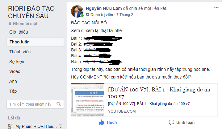 Riori đào tạo Marketing Online