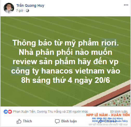 Review my pham riori ngay 20-6-2018